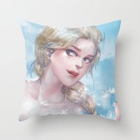 frozen elsa Throw Pillows featuring Frozen Elsa by x3uu