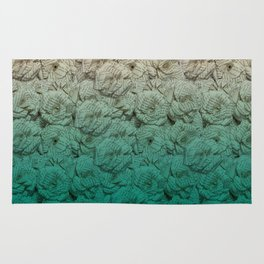 Teal Ombre Book Flower Roses Rug
