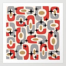 Mid Century Modern Cosmic Abstract 129 Red Gray Gold Black and Beige Art Print