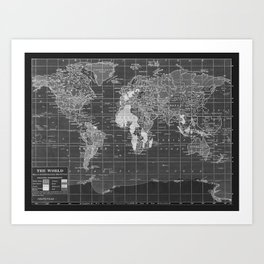 Black and White Vintage World Map Art Print