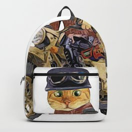 Cat riding motorcycle Backpack