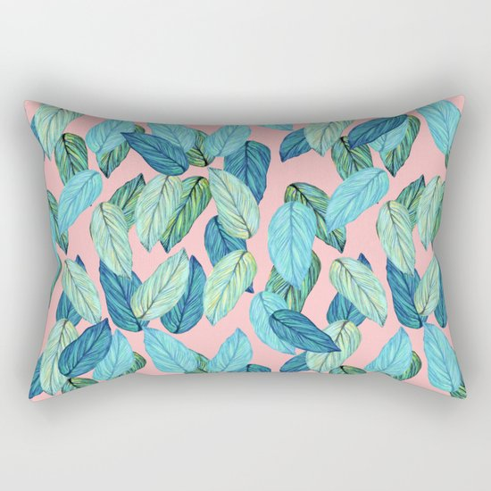 Tropical leaves on Pink Rectangular Pillow