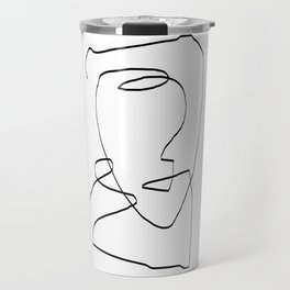Abstract head, Minimalist Line Art Travel Mug