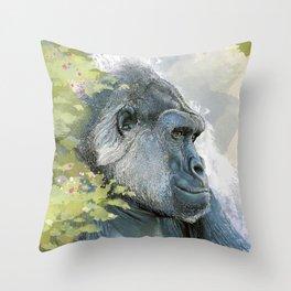 Silverback Gorilla In Contemplation Throw Pillow