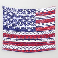 america Wall Tapestries featuring Native America by Dave Higs