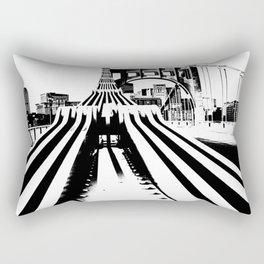 Pittsburgh City Skyline Bridge Pop Art Black White Print Rectangular Pillow