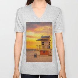 Clearwater Beach Ocean Sunrise Lifeguard Hut Yellow Sky Summer Print Unisex V-Neck
