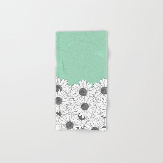 Daisy Boarder Mint Hand & Bath Towel