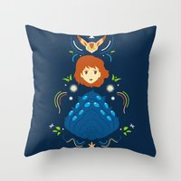nausicaa Throw Pillows featuring Wind Valley by Ashley Hay