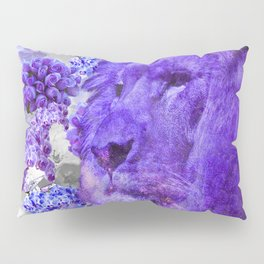 LION AND ORCHIDS  PURPLE AND BLUE FANTASY DREAM Pillow Sham