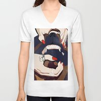 nail polish V-neck T-shirts featuring Nail & Dog by Katerina Vlasyuk