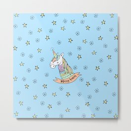 Pastel Unicorn Wishes You a Merry Christmas Metal Print