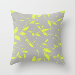 FLOWERY VINES | grey lime green Throw Pillow