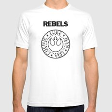 I Wanna Be a Rebel MEDIUM White Mens Fitted Tee
