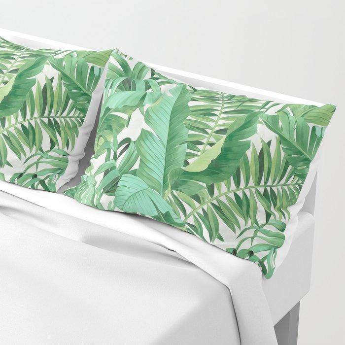 Green tropical leaves III Pillow Sham