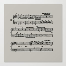 Black distressed stamped music notes light gray grey background Canvas Print