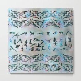 Labradorite Yoga Asanas  on mother of pearl Metal Print