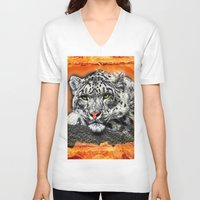 snow leopard V-neck T-shirts featuring Snow Leopard by SwanniePhotoArt