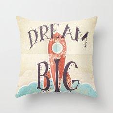 Dream Big - Retro Rocketship Child's Nursery Art Throw Pillow