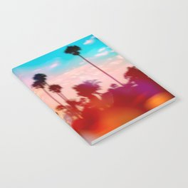 palm tree with sunset sky and light bokeh abstract background Notebook