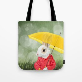 It's raining, little bunny! Tote Bag