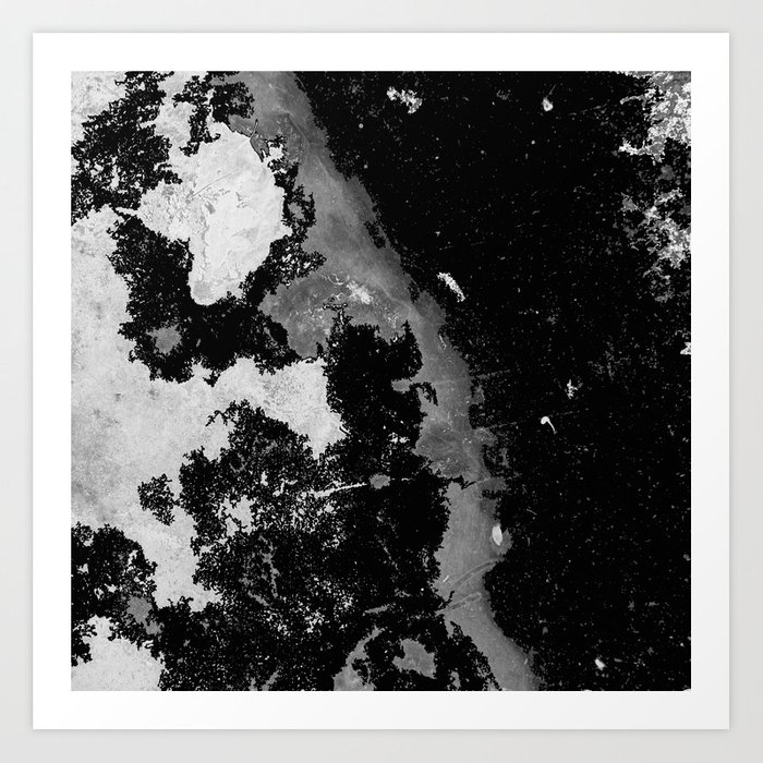 Lost in the mystery abstract black and white painting art print