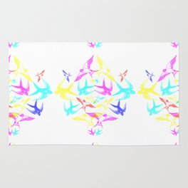 Swooping Swallows in CMYK Rug
