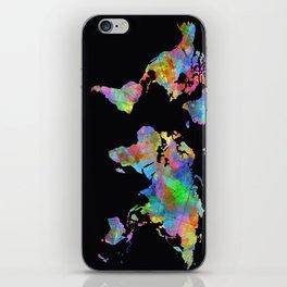 world map watercolor black 2 iPhone Skin