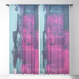 Early Bird: A vibrant minimal abstract piece in blues and pink by Alyssa Hamilton Art Sheer Curtain