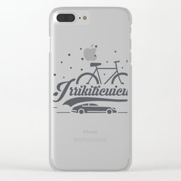 Bicycle with stars and small car Clear iPhone Case