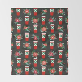 Coffee holiday cups floral bouquet flowers coffees cafe basic art Throw Blanket