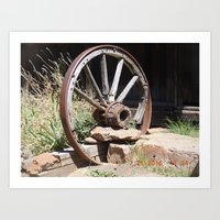 road trip, wagon wheel, old west, history Art Print