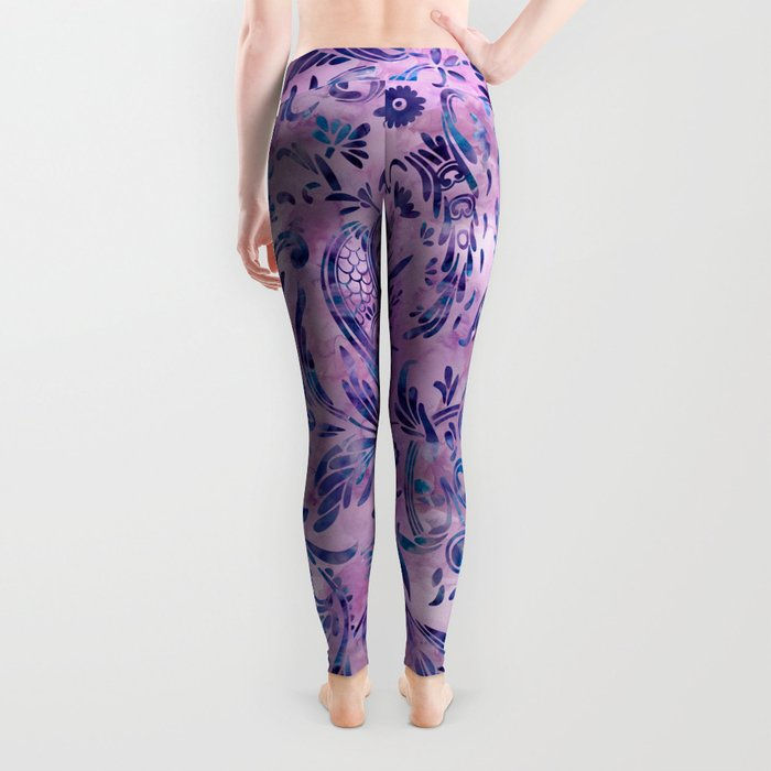 Watercolor Damask Pattern 02 Leggings
