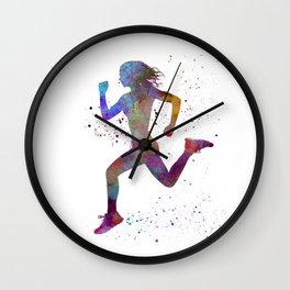 Woman runner running jogger jogging silhouette 01 Wall Clock