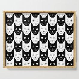 Black cat, white cat Serving Tray