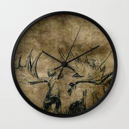 Moose Woodland Illustration Textured Fine Art Wall Clock