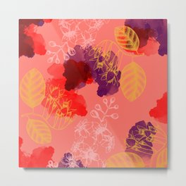 Living Coral Botanical 2 - Exotic Floral Layered Abstract Art Metal Print