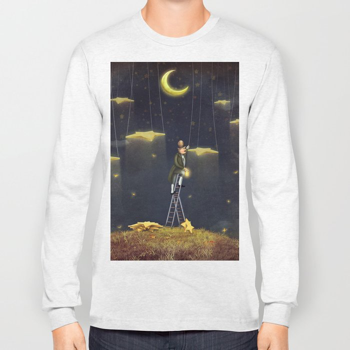 Man reaching for stars  at top of tall ladder Long Sleeve T-shirt
