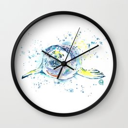 Harbour Seal Watercolor Painting - Emil Wall Clock