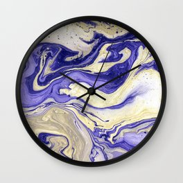 Painting marbled violet and golden Wall Clock