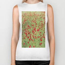 A Pasture Of Red Poppies and Remembrance Biker Tank