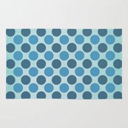 Vintage blue circles retro pattern Rug