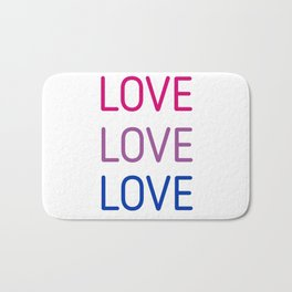 LOVE LOVE LOVE - Bisexual pride flag colors Bath Mat