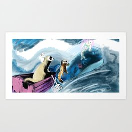 Ferret on the boat (c) 2017 Art Print
