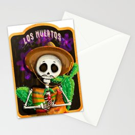 Mexican skull with pet chicken in his arms Stationery Cards