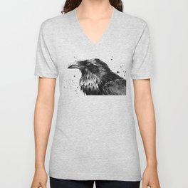 Raven Watercolor Bird Animal Unisex V-Neck