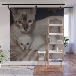 Luna the snow bengal cat with her kittens Wall Mural