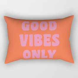 Retro Good Vibes Only Lettering in Pink and Orange Rectangular Pillow