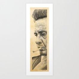 Johnny Cash Pointillism Drawing Art Print