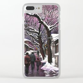 Snowy street at nightfall Clear iPhone Case